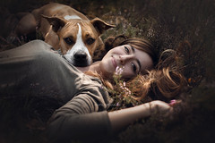 Sylwia & Vega (Beata Patrzałek) Tags: dog woman girl ast amstaff nature hair autumn love