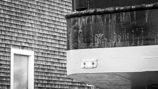 ship, on stands, Lyman Morse Boat Yard, Thomaston, Maine, Panasonic Lumix FZ200, 8.17.18
