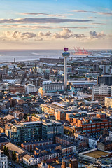 Liverpool sunset (Steve Samosa Photography) Tags: liverpool liverpoolcathedral merseyside mersey sunset sunlight aerialview aerialphotography aerialshot england unitedkingdom gb cityscape radiocity stjohn'sbeacon skyline summertime