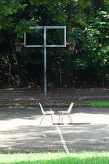 one on one (lucymagoo_images) Tags: sony rx100 philadelphia philly city urban chairs pair basketball court fairmount park cobbs creek two hoops