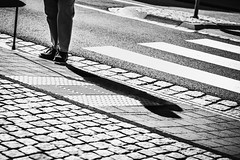 Crossing the Zebra (Herr Nergal) Tags: alpha6000 ilce6000 sony street streetphotography bw sw monochrome contrast zebra saarland streetlife person kontrast zebrastreifen strasse 7artisans 55mm14 prime lens2 primelens festbrennweite