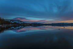 Dawn on Lake Tahoe (CraDorPhoto) Tags: canon canon5dsr landscape waterscape lake calm water reflection sky clouds colour dawn sunrise morning blue mountains outdoors nature usa california laketahoe