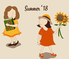 summer'18 (Hilo Tomula) Tags: hilo tomula ヒロ トムラ hiro tomura illustrator illustration drawing sketch graphic design vintage sunflower flower botanical friend girl summer playlist music lovely seasonal greeting memory