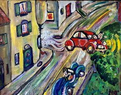 Flying 2CV (The Big Jiggety) Tags: art arte kunst oil huile oleo lienzo toile canvas humor humour car voiture wagen coche machina 2cv deuxchevaux citroen folie madness imagination france french francais street rue calle via strasse village pueblo fantasy surreal crazy surrealiste surrealista privatecollection