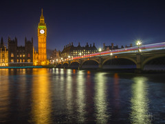 Westminster Twilight (RobertCross1 (off and on)) Tags: 20mmf17panasonic bigben britain em5 england europe housesofparliament london longexposure omd olympus parliament thames uk unitedkingdom westminster architecture bluehour bluesky bridge city cityscape clock dusk lamppost landscape lighttrails night reflection river street tower twilight urban water