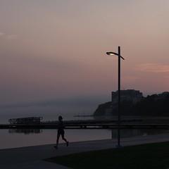 Sunday morning run (humbletree) Tags: madisonwisconsin sundaymorning olympus omdem5 lakemendota sunrise fog daybreak