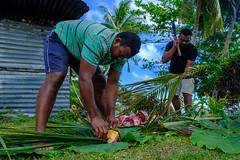 Vusaratu men preparing the pork for the lovo (Dave Byng) Tags: 2018 portrait group guides people forestcamp operationwallacea natewabay opwall vusaratu villagers winter vanualevu southpacific scientificexpedition fiji expedition lovo earthoven feast celebration