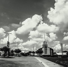 Heaven passing by (photo.po) Tags: iphone8 iphone monochrome blackandwhitephotography perspective presbyterianchurch texas sky clouds