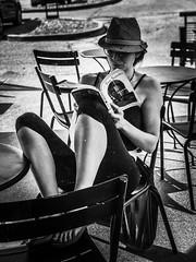 She Speaks. Windsor, ON. (Paul Thibodeau) Tags: photooftheday windsor iphone8plus iphoneography streetphotography blackandwhite monochrome starbucks facesincoffeeshops woman reading book shespeaks