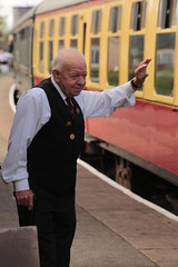 Devoted to the Railway (Henry Hemming) Tags: northiam station steam railway train kent east sussex rail travel line goldenage man person master guard