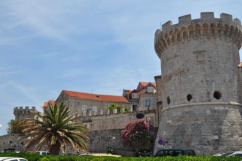 La ville et ses remparts, Korčula, comitat de Dubrovnik-Neretva, Dalmatie, Croatie.