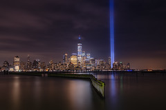 United We Stand (Mike Ver Sprill - Milky Way Mike) Tags: never forget tribute light twin towers terrorist attack 911 nine eleven september 11th eleventh cityscpae cityscape new york city nyc jersey hudson river newport marina freedom tower manhattan architecture united we stand divided fall memorial beautiful night sky nightscape reflections