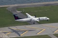 C-GGOY Bombardier Dash 8-400 Jazz Air Toronto City airport CYHZ 26.08-18 (rjonsen) Tags: plane airplane aircraft aviation airliner turboprop landing runway air canada express