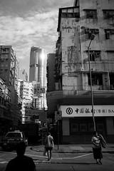 The light from tower (James_sea) Tags: building street mongkok 35mm 23mm bw blackandwhite hongkong