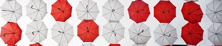 Red and Whie Umbrellas
