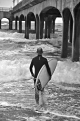 Going in at Boscombe Pier! (richnew7) Tags: boscombe pier sea nikon d810 dorset england uk south coast surf waves seaside bournemouth monochrome mono black white