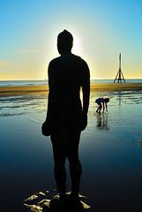 Taking A Dip (tcees) Tags: crosbybeach crosby liverpool merseyside nikon d5200 1855mm sunset sun beach sea water horizon reflection sky clouds seascape girl ripples ship statue anotherplace antonygormley art bronze ocean