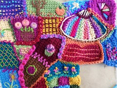 The upper right hand corner of the crochet crazy quilt panel finally tricked out to my satisfaction (crochetbug13) Tags: crochet crocheted crocheting crochetblanket crochetafghan crazyquilt embroidery