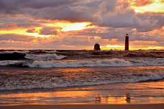 Stunning September Sunset (09 21 2018) (PhotoDocGVSU) Tags: grandhavenmi lighthouse lakemichigan greatlakes gale storm windy waves canon5d3 sigma50500os bigma sunset