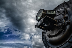 501 beats the storm (FotoFloridian) Tags: blackcolor cloudsky sky cloudscape outdoors dark old steam locomotive northconway newhampshire railroad train sony alpha a6000 nik hdr
