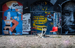 Discovering Friedrichshain (Alexandra Kfr) Tags: street art berlin germany colors contrast chair red blue suicide circus travel nikon