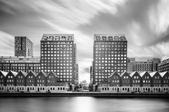 Dutch Symmetry (frank_w_aus_l) Tags: rotterdam monochrome noiretblanc netb netherlands architecture architektur longexposure pce nikkor nikon d850 reflection sky skyline water zuidholland niederlande nl shifted bw cityscape