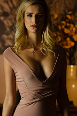 What The Girls Call Murder (High Water Media) Tags: woman model modeling glamour fashion dress warm fierce intense contrast flowers vase shadows blonde hair long decolletage retro