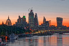 Waterloo Sunrise (Geoff Henson) Tags: sunrise sunset dawn daybreak goodmorning glow sky pink red river water thames boats embankment buildings skyscrapers towers cathedral dome reflections