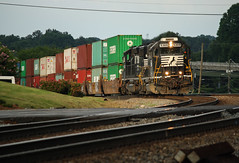 Evening Stack Transfer (weshendrix) Tags: norfolk southern ns austell georgia ga atlanta terminal train railfan railfanning railroad railroading rr freight intermodal emd gp382 standard cab diesel engine locomotive vehicle outdoor track rails