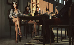 Dîner chez Bart (♛ Baronne ♛) Tags: secondlife avatar slavi fr french diner repas bart house home design mesh ison shoes heels gizseorn fashion look style mode model pose accessory accessoires accessories tableauvivant shadow pic picture group people photograph food evening invitation slurl place beauty cleavage busty bra skirt upskirt legs lelutka bento face visage rendezvous girls guys pretty jupe