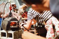 Sigma SA-7 Blacksmithing at The Church 14 (▓▓▒▒░░) Tags: analog analogue mechanical vintage retro classic film camera design style sigma sa7 slr japan orwo east german church fun blacksmith party demo craft steel hipster art wood projects commune club venue melrose la los angeles california bokeh depth field dof color stripes