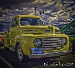 Yellow Ford Truck (Edward Saksenhaus RPh.) Tags: truck texture yellow ford travel transportation gasoline ride classic vintage old