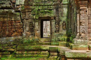 Stone carvings at Ta Som temple ruins in Angkor Archeological Park near Siem Reap, Cambodia