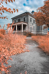 Faux Fall (Brian M Hale) Tags: ir infrared infra red 590 590nm nm nanometer ma mass massachusetts new england newengland usa outside outdoors abandoned building architecture house westboro westborough state hospital insane asylum path brian hale brianhalephoto