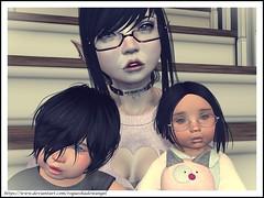 Ronin, Saiyo, and Shinta Sept 2018 (Saiyo Airi Rose) Tags: secondlife second life child vampire goth boy girl siblings brother sister children toddlers babys toddleedoo