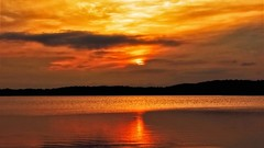 The Shepherds weren't delighted, they were ecstatic. (Bob's Digital Eye) Tags: bobsdigitaleye canon efs24mmf28stm glow glowing laquintaessenza lake lakesunset lakesunsets orange outdoor reflection sep2018 skies sky smokepollution sun sunset sunsetsoverwater t3i water flicker flickr