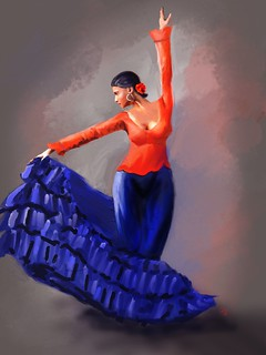 Flamenco in Red and Blue