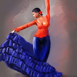 Flamenco in Red and Blue thumbnail