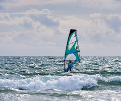 Windsurfing at Newgale, Pembrokeshire. (hemlockwood1) Tags: surf newgale water sport beach sand sea sail selective colour pembrokeshire coast waves colin allen