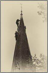 Day 261 Stairway to heaven revisited (Dominic@Caterham) Tags: church spire mono steeple steeplejacks ladder tree leaves autumn