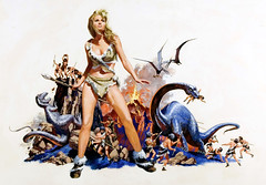One Million Years B.C. by Jack Thurston, 1966 (gameraboy) Tags: jackthurston art painting vintage illustration onemillionyearsbc poster posterart movieposter raquelwelch 1960s film movie 1966