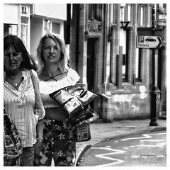 busy shopping (Mallybee) Tags: zoom f3545 dcg9 g9 lumix bw blackwhite shopping panasonic women street streetphoto osawa 2880mm oldlens