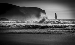 Drama (cliveg004) Tags: sandwoodbay sutherland westcoast scotland beach sand johnmuirtrust cliffs seastack ambuachaille waves sea spray rocks sky clouds sunset nikon d5200 skancheli
