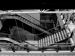 Life's an Escalator; or, the Beauty of Anonymity to the Photographer At Work (Daniel Karmy) Tags: city portsmouth gunwharf shopping centre mall hampshire uk england english black white bw photo photograph photographer photography good elevator lift up down people anonymous anonymity business work life profession leisure sport love