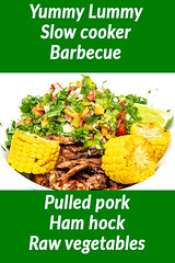 Saturday dinner. Barbecue pulled ham hock and raw vegetables. (garydlum) Tags: greenbeans sweetcorn limejuice fennel chilliflakes springonion blackpepper barbecuesauce parsley iodisedsalt celery pork coriander redonion carrot hamhock sichuanseasoning lime capsicum pulledpork chillies oliveoil