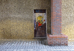 two slugs and a skull (amazingstoker) Tags: slug skull stencil basingstoke amazingstoke basingrad street art paste up graffiti alley joices yard church haymarket cobbles bricks pillardoor doorway entrance