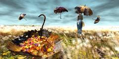 umbrellas (Anja Mexicola) Tags: missingmelody hpmd anjamexicola autumn secondlife digital art umberellas leafs grass sky girl virtual zenith tableauvivant collabor88 lelutka maitreya mudskin music lykkeli davidlynch light shadow color happymood