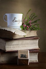 Emily Brontë (1818-1848) - 200th Birthday Tribute (vesna1962) Tags: stilllife tabletop tribute bicentenary emilybrontë books mug cup heather quill writersblock wutheringheights writer victorian romantic