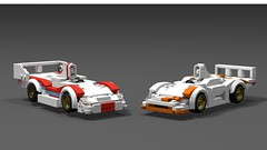 Lego Porsche 936 and 936/81 spyder (MechanicalMenu) Tags: porsche lego motorsports racing 936 car red orange blue white le man