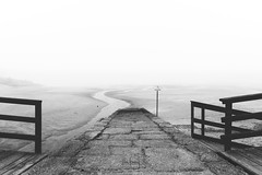 Bath zone (RuiFAFerreira) Tags: bw black white fog sand pier water mood canon efs1018mmf4556isstm landscape